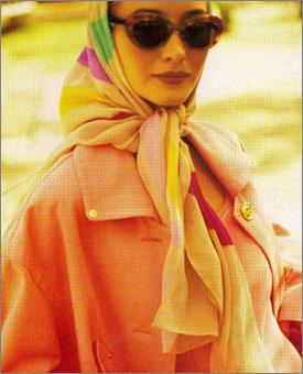 Gene Meyer:  Printed silk chiffon scarf. Harper's Bazaar, 1992. Editor - Robert Rufino.