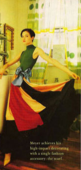 Gene Meyer: Printed silk scarves made into full skirted evening dress. Photographed at Gene's New York City apartment. House and Garden 1992. Story by Wendy Goodman.