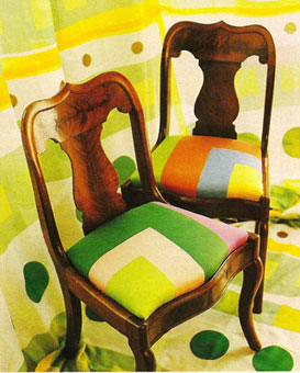 Gene Meyer: Printed silk scarves used to upholster chairs. House & Garden 1992. Editor Wendy Goodman.