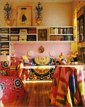 Gene Meyer: Wool scarves as slipcovers, tablecloths and curtains. House and Garden, 1992. Editor - Wendy Goodman.