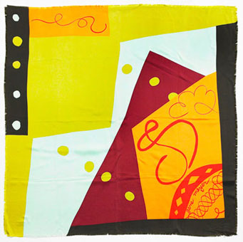 Gene Meyer: Printed silk scarf. Collection – Fall 1991