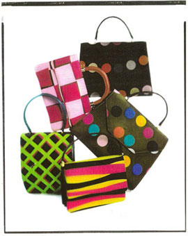 Gene Meyer: Leather handbags covered in printed silk twill. Collection - Fall 1992
