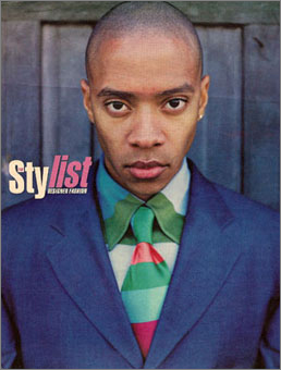 Gene Meyer: Printed silk tie, cotton knit shirt and cotton suit. Vibe magazine, Spring 1998