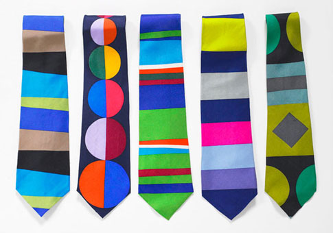Gene Meyer: Printed silk ties. (Left to right) 1992, 1995, 1994, 1992, 1993