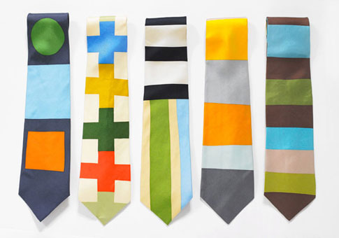 Gene Meyer: Printed silk ties. (Left to right) 1994, 1994, 1996, 1995, 1993