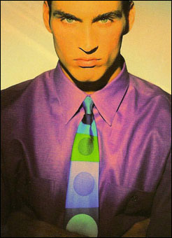 Gene Meyer: Printed silk tie and cotton shirt. MR magazine, Spring 1992