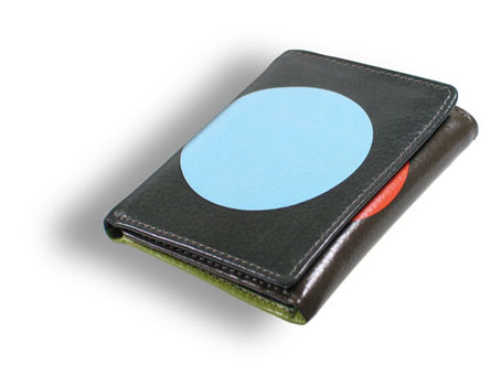 Gene Meyer: Leather printed wallet: CIRCLE GAME Designed 2002
