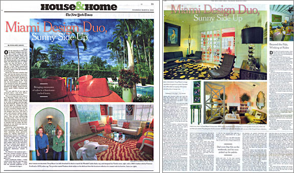 The New York Times, House & Home section cover, March 9, 2006. Feature article on Doug & Gene Meyer's design firm. Story by – Penelope Green