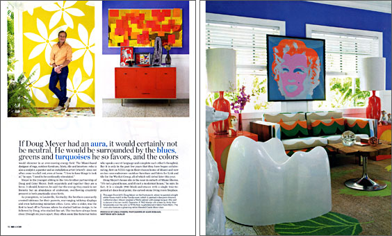 Designer Doug Meyer's Miami house featuring Andy Warhol's Marilyn, Milo Baughman sofa, Wendell Castle Molar chair and Gene Meyer rug.