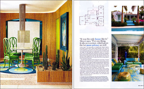Designer Doug Meyer's Miami house featuring Eero Saarinen Tulip table and a Doug and Gene Meyer rug.