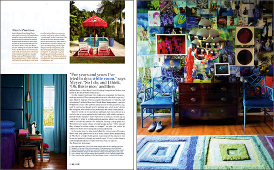 Designer Doug Meyer's bedroom featuring a Gene Meyer rug.