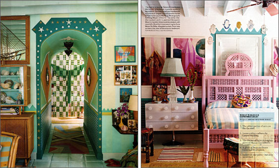 Designers Gene Meyer and Frank de Biasi's Miami house featuring Doug Meyer BOD series photographs and a pink Moroccan bed. Produced by Robert Rufino. Photography by Mikkel Vang.