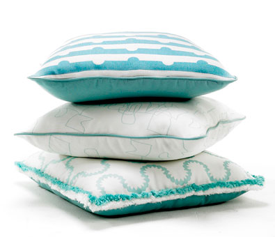 Doug & Gene Meyer: Stack of Pillows with fabric and trim designed by Doug and Gene Meyer for ...