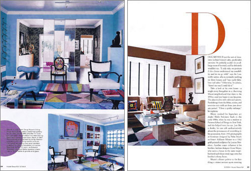 Designer Doug Meyer's first Miami house featuring a blue James Mont chair, Billy Haines chairs in white and Gene Meyer rug.