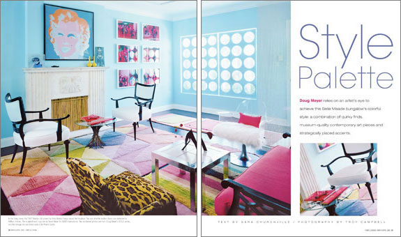 Designer Doug Meyer's first Miami house featuring Andy Warhol's Marilyn, Billy Haines chairs, Pierre Cardin table and Gene Meyer rugs. Produced by Sarah Harrelson.