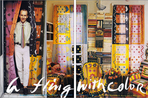 Designer Gene Meyer's first New York City apartment featuring Gene Meyer scarves used for slipcovers and curtains. Story by Wendy Goodman.