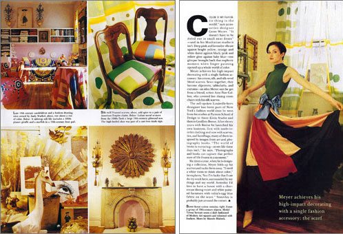 Designer Gene Meyer's first New York City apartment featuring Gene Meyer evening dress and Gene Meyer scarves as upholstery, curtains and table cloths. Story by Wendy Goodman. Photography by Ruven Afanador.