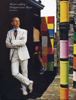 Designer Gene Meyer photographed on his New York City rooftop by Xavier Guardans for Vanity Fair.  February 1995