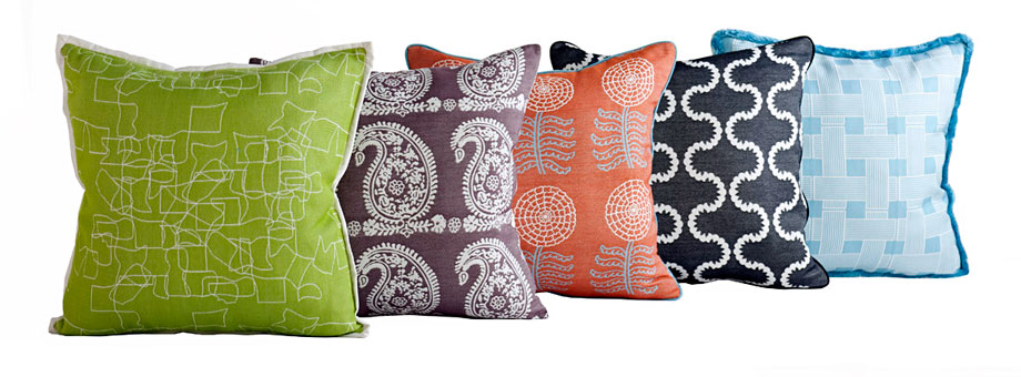 Assorted pillows with Doug and Gene Meyer designed fabric for Link Outdoor. From left to right: Doodle, Palme, Zinnia, Drop In and Crossings.