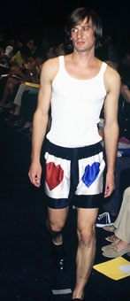 Gene Meyer  Printed boxer shorts and cotton tank.  Gene Meyer runway show.  Spring 1996