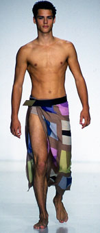 Gene Meyer  Printed silk and cotton pareo.  Gene Meyer runway show.  Spring 2001