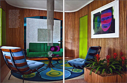 Zebra wood veneer cover's the walls of designer  Doug Meyer's living room. Sofa is Florence Knoll, the  Chairs are Martin Eisler the art work is from Meyer's  BOD series. The rug is designed by Doug and Gene Meyer.