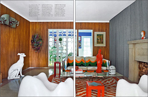 The Miami Shores living room of designer Doug Meyer.  Hanging sculpture by artist Christina Lei Rodriguez.  Sofa is Milo Baughman with two white Molar chairs by Wendell  Castle. The silver coffee table was designed by Doug and Gene Meyer.  Produced by - E