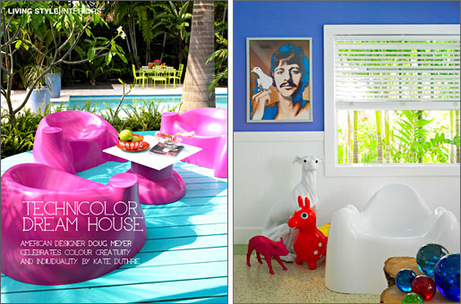 Designer Doug Meyer's Miami house. A set of  Wendell Castle chairs on the outside deck. In the Florida  Room a white Molar chair by Wendell Castle, photo of  Ringo Starr by Richard Avedon.  Marie Claire (Australia), June 2010  Story by - Kate Duthie  Phot