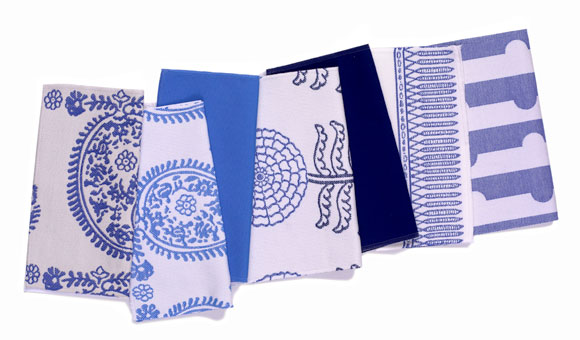 Assortment of  outdoor fabric swatches designed by Doug & Gene Meyer for Link Outdoor.
