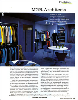 Gene Meyer Showroom  Designed by architects David Mann and S. Russell Groves Interior Design Magazine Spring 1996