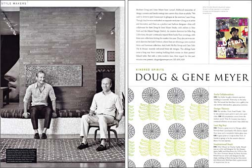 LUXE MAGAZINE article featuring Doug &amp; Gene Meyer fabric designs for Link Outdoor  Fall 2009.