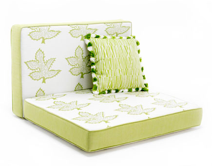 Doug & Gene Meyer fabric designed for Link Outdoor. Pillow is pattern Matchstick with Stripe Fringe. Cushions are covered in Maple pattern with solid Key Lime canvas.