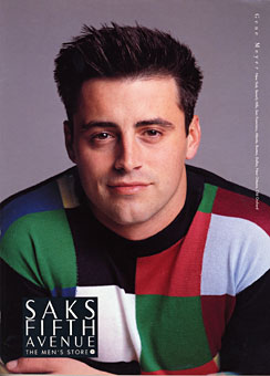 Actor Matt LeBlanc wearing Gene Meyer Saks Fifth Avenue catalog Spring 1996