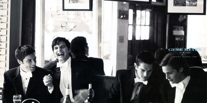 Gene Meyer menswear ad campaign With Ashton Kutcher Photographer – Stewart Shining Spring 1998