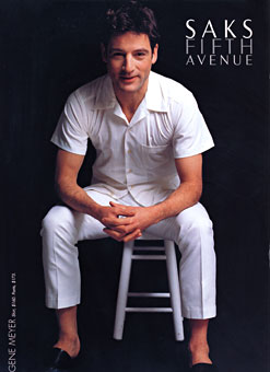 Actor Jeremy Northam wearing Gene Meyer  Saks Fifth Avenue Catalog Spring 1999