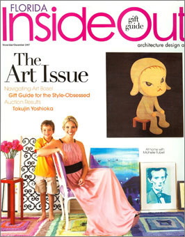 Doug and Gene Meyer rugs Multi Screen Michelle Rubell and son featured On the cover of INSIDE OUT magazine. November 2007