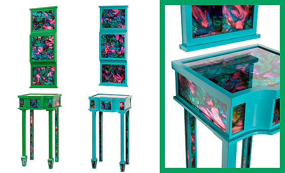 Doug and Gene Meyer rugs Ondine Consoles and Mirrors Laquered wood with in-set psychedelic mirror