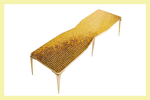 Doug and Gene Meyer  Sedgwick Table Polished brass with 24k gold mosaic top