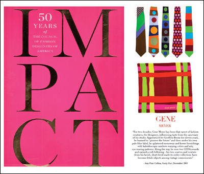 Impact 50 Years of the CFDA by Abrams  feature on Gene Meyer written by Amy Fine Collins