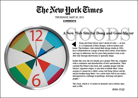 NEW YORK TIMES article about Doug and Gene Meyer's new e-commerce site and new clocks. May 10, 2012 Story by Rima Suqi