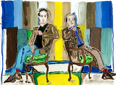 Quinn Harrelson, Doug & Gene Meyer Portrait, watercolor on paper 2013