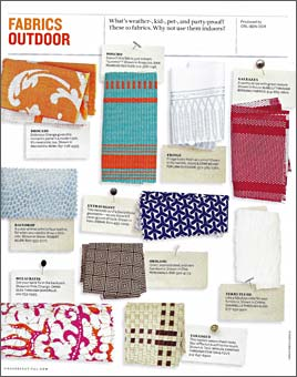 HOUSE BEAUTIFUL article featuring Doug & Gene Meyer fabric design for Link Outdoor. Spring 2010.